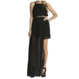 BCBGENERATION Pleated Square Neck Lace Inset Dress